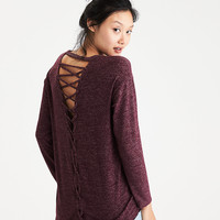 AEO Soft & Sexy Plush Lace-Back Sweatshirt, Burgundy
