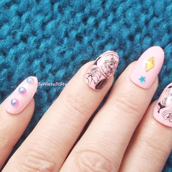 sailor moon inspire fake nails press on false nail anime kawaii cosplay japan otaku pink glitter lolita artificial oval lasoffittadiste