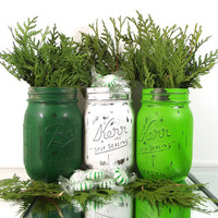 Candy Jar, Rustic Christmas Decor, Painted Mason Jars, Christmas Mantle, Winter Decor, Green Mason Jars, Christmas Table Decor