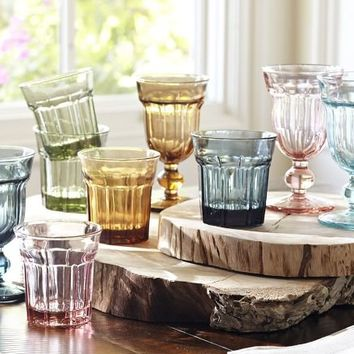 Colorful Cafe Glassware, Set of 6