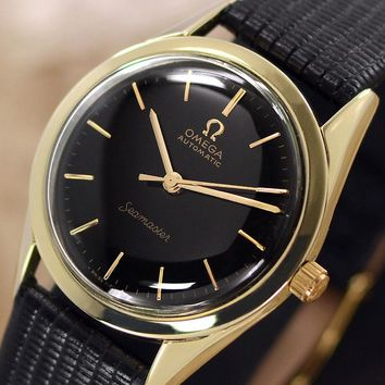 VINTAGE OMEGA Seamaster AUTOMATIC BLACK DIAL GOLD PLATED ANALOG DRESS MENS WATCH