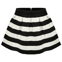 Black Apricot Stripe Flare Zip Skirt (Size: M) = 1946983556