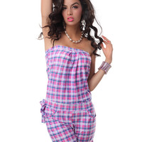 Purple Plaid Strapless Romper with Pocket