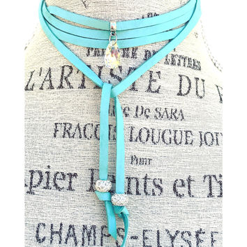 Lariat Swarovski Crystal Choker Necklace in Turquoise Suede Cord