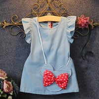 2017 Baby Toddlers Demin Casual Dresses  Kids Girl Solid Dress Minnie Mouse Sleeveless Bag Ruffles1-5Y