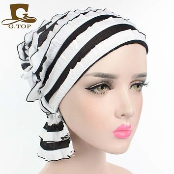 NEW Most popular Women wrinkle Ruffle Chemo Hat Beanie Scarf Turban Headwear for Cancer spring summer style