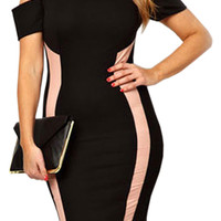 Plus Size Black Bodycon Dress With Drop Shoulders