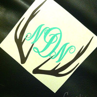Deer Monogram Sticker or Decal - Any Color - For Car, Laptop, Gun, iPhone, etc.