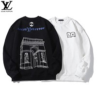 Louis vuitton fashion casual sweater is selling a stone wall printed sweater with round neck and long sleeves