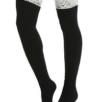 Blackheart Cream Lace Cuff Black Ribbed Thigh Highs