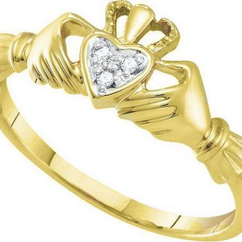 Claddagh Diamond Ring 10k Yellow Gold