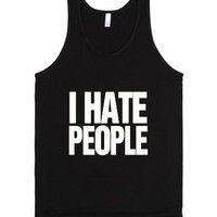 I hate People-Unisex Black Tank