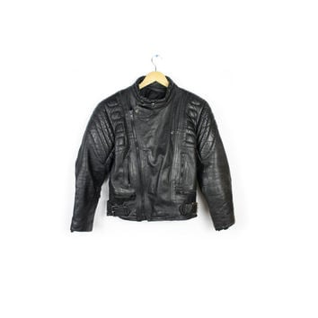 vintage 80s black leather motorcycle jacket / 1980s punk biker mad max padded leather / small