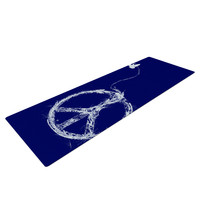 "Frederic Levy-Hadida ""Bird Sewing Peace"" Blue White Yoga Mat"