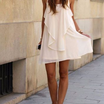 White Spaghetti Straps Chiffon Dress