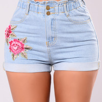 Showing Signs Of Love Shorts - Light Wash
