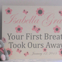 Personalized Birth Announcement Sign - Your First Breath Took Ours Away! Baby Name, Date Announcement - Pink Gray Letters Baby Girl Nursery