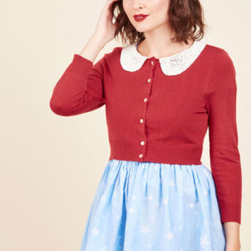 Elegant Accents Cardigan in Cherry | Mod Retro Vintage Sweaters | ModCloth.com