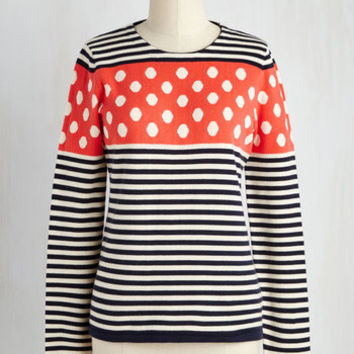 Nautical Mid-length Long Sleeve Just Around the Blend Sweater