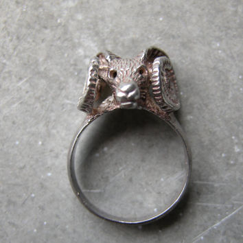 Ram Head Sheep Sterling Silver Ring: Size Small
