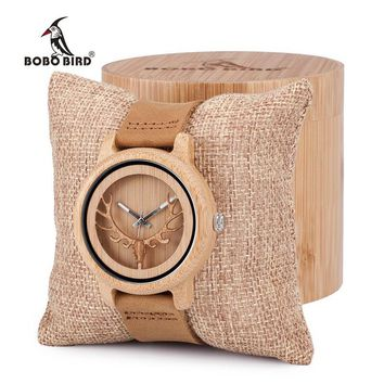 BOBO BIRD Vintage Deer Head Skeleton Design Bamboo Wood Wrist Watch Mens Womens Timepiece with