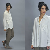 Oversized White Button Down Shirt Vintage 90s