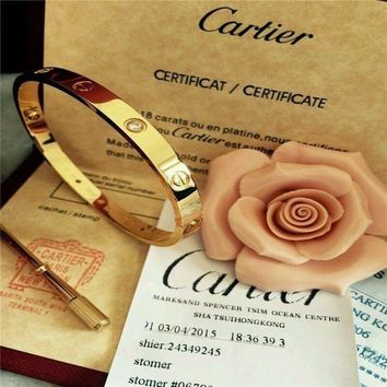 HOT @@Authentic Cartier 18K Love Yellow Gold Bracelet 4 Daimonds Size 19@##