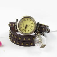 Brown Leather watch,three lap wrist Wrap watch,Dandelion watch,ladies watch, girls watch, woman watch, make a wish, bracelet watch