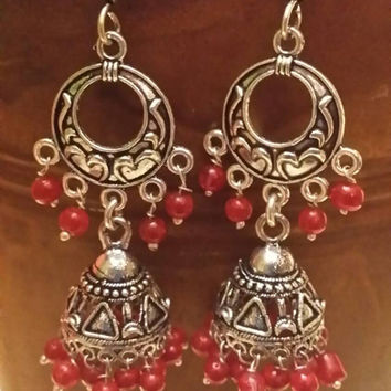 Ruby Earrings 925 Silver  Earrings Chandelier Earrings Drop Earrings GemStone Earrings Dangle Earrings Belly Dancer Earrings Ethnic Earrings