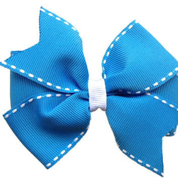 ON SALE 20% OFF Blue with white stitching hair bow - blue hair bow, blue & white bow
