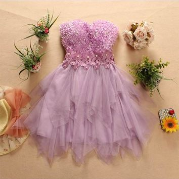 Purple Floral Off Shoulder Sequin Grenadine Tutu Fashion Bridesmaid Homecoming Party Mini Dress