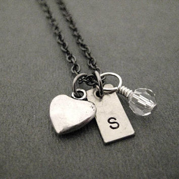 Rectangle INITIAL with Heart and Crystal or Pearl - Pewter Heart, Hand Crafted Initial with Swarovksi Crystal or Pearl on Gunmetal chain