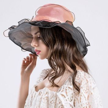 Womens Anti-UV Sun Hat Folding Beach Cap Kentucky Derby Church Dress Wide Brim