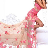 New Sexy Mermaid Applique Cocktail Formal Party Ball Bride Evening Pageant Prom Dresses Wedding Gown