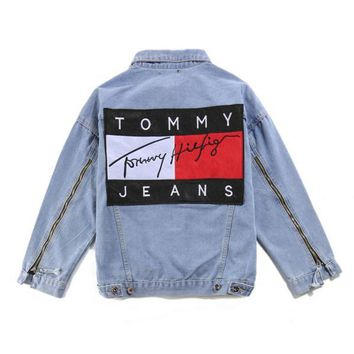 """Tommy Hilfiger"" Women Men Denim Cardigan Jacket Coat"