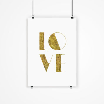 "Digital Print Art Poster ""Love"" Typography Wall Decor Inspiration Home Decor Giclee Screenprint Letterpress Style Wall Hanging"