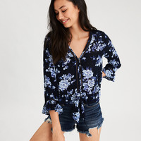 AE Ruffle Hem Button Down Shirt, Navy
