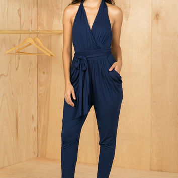 Twisted Back Jumpsuit (Navy)- FINAL SALE