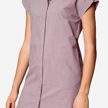 Avery Cotton Shirt Dress in Mauve