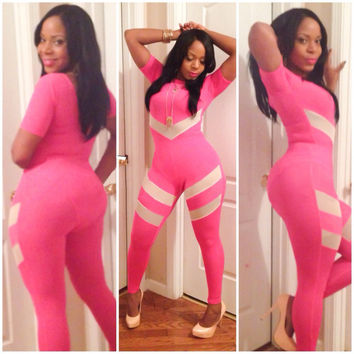Pink with White Trim Short Sleeve Jumpsuit