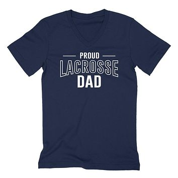 Proud lacrosse dad  team squad game day sport dad love lacrosse Father's day  V Neck T Shirt