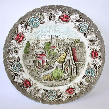 The Friendly Village by Johnson Bros England 1883 Salad/Dessert Plates and British Anchor English Country Scenes Serving Plate - 7 Pieces