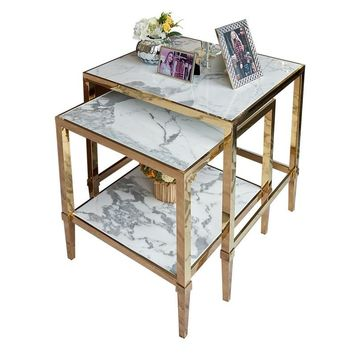 """Nest Corner Table 55cm(21"""") Cube +45cm(17"""") / Coffee Table with Gilded Metal Frame and Marble Top"""