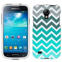 Samsung Galaxy S4 Mini Case, Slim Fit Snap On Cover by Trek Chevron Grey Green Turquoise White Case