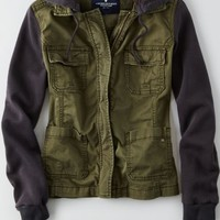AEO Women's Layered Utility Jacket (Olive)