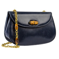 Gucci Vintage Navy Blue Lambskin Leather Bamboo Crossbody Bag