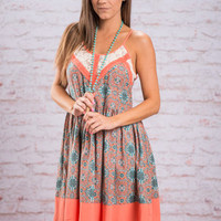 Sienna Sunset Dress, Coral