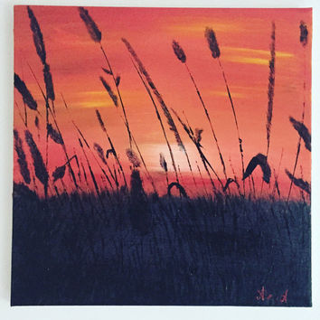 Original Sunset Landscape/Sunset Acrylic Painting /Canvas Painting/ Skyscape