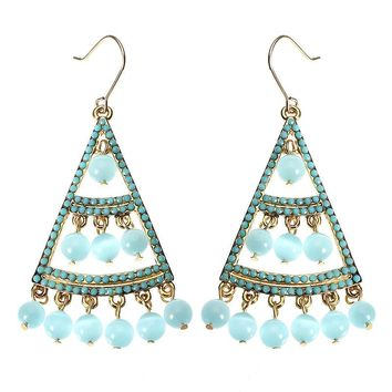 JASSY® Bohemian 18K Gold Plated Sky Blue Opal Earrings Luxury Fine Jewelry Clothing Accessories