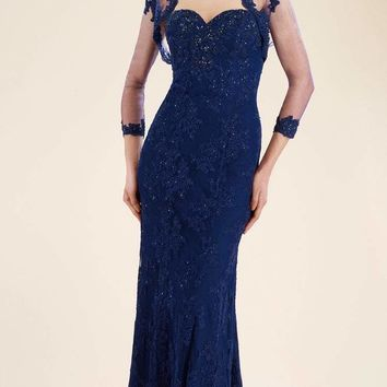 Rina Di Montella - RD1911 Lace Trumpet Gown with Sheer Bolero Jacket
